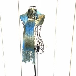 Ombre Scarf Chunky Knit Blue, Olive & Sage Green